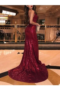 Gorgeous Burgundy Sequined Prom Evening Dress Mermaid V Neck Side Slit