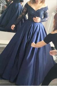 Elegant Beaded Plus Size Prom Evening Dress Off The Shoulder Long Sleeves Royal Blue Lace Taffeta