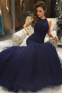 Stunning Mermaid Prom Evening Dress High Neck Sleeveless Royal Blue Tulle With Crystals