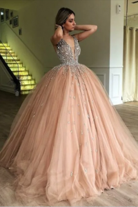 Romantic Ball Gown Prom Quinseanera Dress Blush Pink Tulle With Crystals