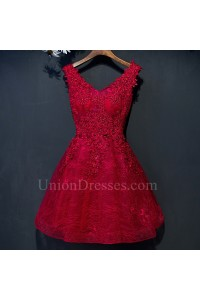 Lovely V Neck Corset Crystal Beaded Short Mini Red Prom Party Dress With Appliques