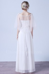 Elegant A Line Scoop Cap Sleeve Crystal Beaded White Chiffon Wedding Dress