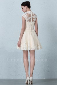 Short A Line High Neck Cap Sleeve Beaded Champagne Lace Beach Destination Wedding Dress
