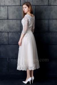 Modest Tea Length A Line Corset 3 4 Sleeve Beaded Lace Wedding Dress