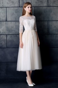 Modest Tea Length A Line Half Sleeve Beaded Lace Beach Destination Wedding Dress