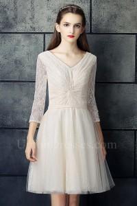 Modest Short A Line V Neck 3 4 Sleeve Pleated Champagne Lace Beach Destination Wedding Dress