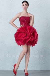 Lovely Short Mini Ball Gown Strapless Corset Beaded Ruffled Red Organza Prom Homecoming Cocktail Dress