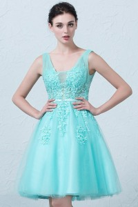 Stunning Short A Line V Neck Beaded Blue Lace Tulle Prom Homecoming Cocktail Dress