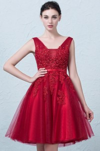Stunning Short A Line V Neck Beaded Red Lace Tulle Prom Homecoming Cocktail Dress