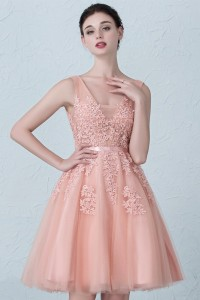 Stunning Short A Line V Neck Beaded Blush Pink Lace Tulle Prom Homecoming Cocktail Dress