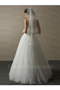 Elegant A Line Sweetheart Corset Crystal Beaded White Tulle Wedding No Train