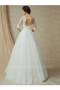 Beautiful A Line Half Sleeve Open Back Beaded Tulle Wedding Dress No Train