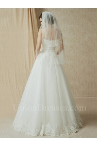 Charming A Line Strapless Beaded Lace Tulle Wedding Bridal Dress With Belt No Train