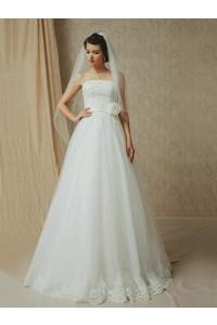Charming A Line Strapless Beaded Lace Tulle Wedding Bridal Dress With Belt