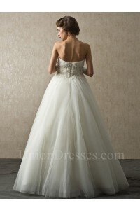 Charming Ball Gown Sweetheart Corset Crystal Beaded Appliques Pleated Tulle Wedding Bridal Dress No Train