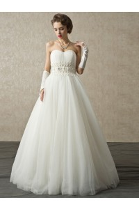 Charming Ball Gown Sweetheart Corset Crystal Beaded Appliques Pleated Tulle Wedding Bridal Dress
