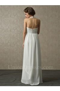 Halter Crystal Beaded Chiffon Beach Destination Empire Maternity Wedding Bridal Dress