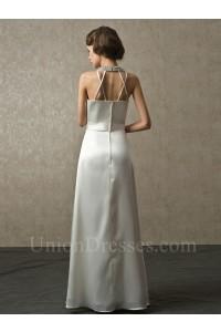 A Line Halter Crystal Beaded Ivory Charmeuse Destination Wedding Bridal Dress No Train