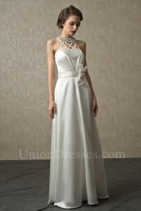 A Line Halter Crystal Beaded Ivory Charmeuse Destination Wedding Bridal Dress With Bow Belt