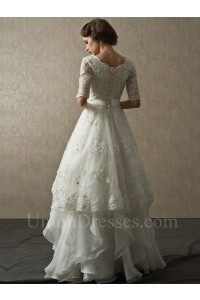 Modest A Line Half Sleeve Corset Beaded Lace Layered Organza Wedding Bridal Dress