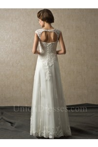 Cap Sleeve Corset Open Back Beaded Lace Country Wedding Bridal Dress No Train