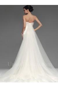 Gorgeous Mermaid Strapless Crystal Beaded Lace Wedding Bridal Dress