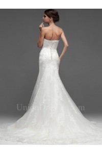 Stunning Mermaid Strapless Corset Beaded Lace Wedding Bridal Dress