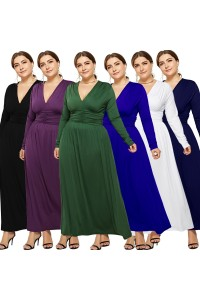 Elegant V Neck Long Sleeve Ruched Olive Green Jersey Clothing Spring Fall Plus Size Women Clothing Maxi Casual Dress
