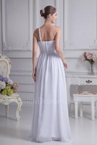 Charming A Line One Shoulder Crystal Beaded White Chiffon Beach Wedding Dress No Train