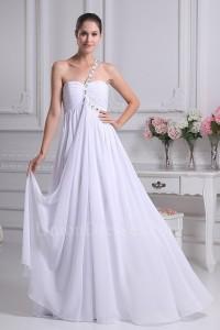 Charming A Line One Shoulder Crystal Beaded White Chiffon Beach Wedding Dress