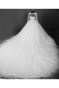 Ball Gown Illusion Neckline Long Sleeve Tulle Lace Beaded Wedding Dress Cathedral Train