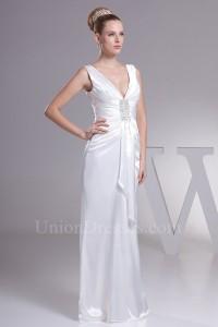 Sheath V Neck Corset Back White Silk Destination Wedding Dress No Lace Train