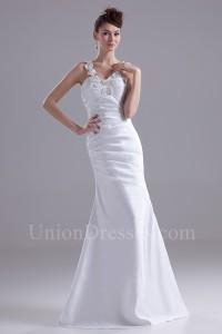 Elegant Mermaid Sweetheart Beaded Straps Pleated White Satin Beach Destination Wedding Dress