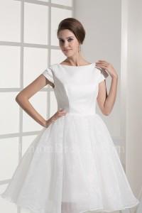 Modest Ball Gown Scoop Short Sleeve White Organza Beach Destination Wedding Dress