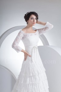 Modest Off The Shoulder 3 4 Sleeve Bow Sash Tiered Lace Wedding Dress Bridal Gown