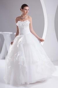 Beautiful Ball Gown Sweetheart Corset Beaded Flowers Ruffled Organza Wedding Dress No Lace