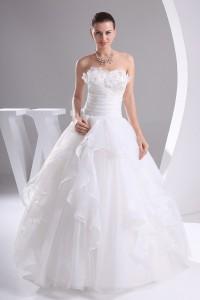 Beautiful Ball Gown Sweetheart Corset Beaded Flowers Ruffled Organza Wedding Dress No Train