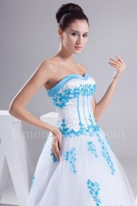 Ball Gown Sweetheart Corset Beaded Blue Appliques White Tulle Wedding Dress Bridal Gown