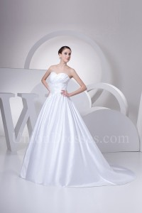 Simple A Line Sweetheart With Flower Pleated White Satin Wedding Dress Bridal Gown