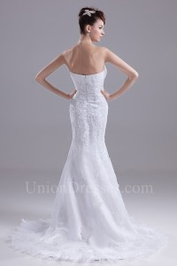 Vintage Mermaid Sweetheart Beaded Lace Wedding Dress Bridal Gown
