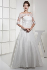 Elegant A Line Off The Shoulder Half Sleeve Lace Satin Wedding Dress No Train