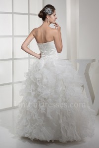 Princess Ball Gown Strapless Beaded Wedding Dress With Ruffles No Train