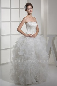 Princess Ball Gown Strapless Beaded Wedding Dress With Ruffles