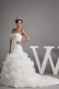 Beautiful Sweetheart Corset Beaded Appliques Pick Up White Organza Wedding Dress