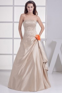 Elegant A Line Strapless Beaded Embroidery Champagne Wedding Dress No Train