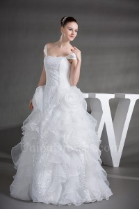 Royal Ball Gown Off The Shoulder Sequined Organza Wedding Dress With Ruffles