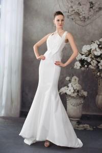 Modest Mermaid Halter Beaded White Taffeta Wedding Dress Bridal Gown