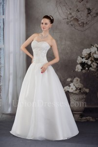 Stunning A Line Sweetheart Crystal Beaded White Taffeta Wedding Dress Bridal Gown