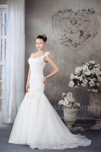 Beautiful Mermaid One Shoulder Beaded Appliques Pleated Organza Wedding Dress Bridal Gown