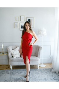 Elegant Red Sheath Knee Length Prom Cocktail Dress One Shoulder With Slit